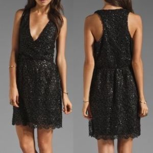 MM Couture by Miss Me Black Lace Sequin Dress